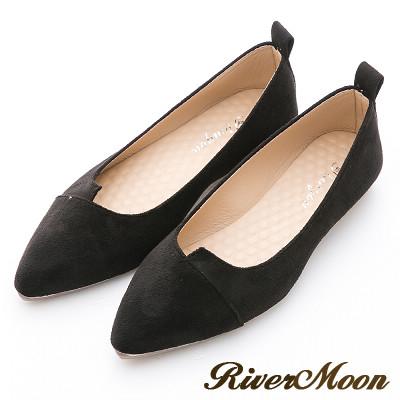 River&Moon素雅百搭-細絨造型剪裁尖頭鞋-黑