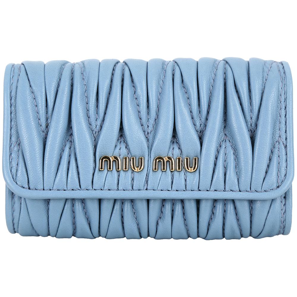 miu miu Matelasse 經典皺褶羊皮鑰匙包(藍色) @ Y!購物