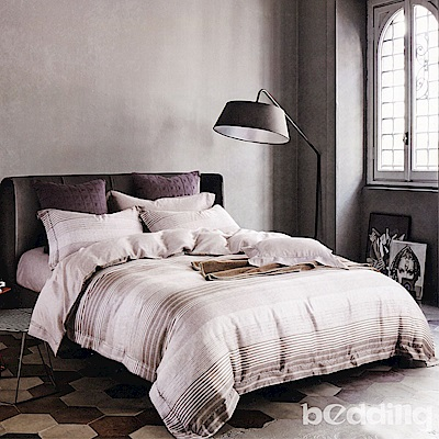 BEDDING-100%天絲萊賽爾-加大薄床包鋪棉兩用被套四件組-禪念-灰