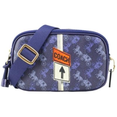 COACH 印花馬車塗鴉織布寬背帶雙層斜背包(紫)