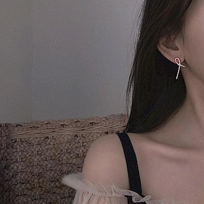 梨花HaNA 韓國925銀全鑲鑽小清新曲線耳環