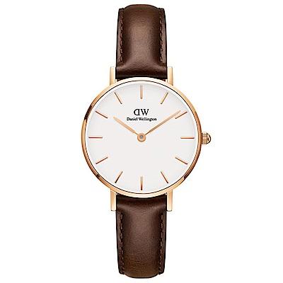 DW手錶 官方旗艦店 28mm玫瑰金框 Classic Petite 深棕真皮皮革手錶 @ Y!購物