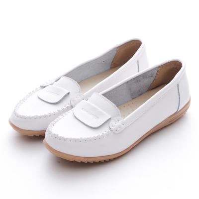 A one 牛皮莫卡辛反折縫線休閒鞋-白色