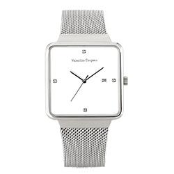 Valentino Coupeau 范倫鐵諾 古柏 輕巧極簡設計腕錶【銀色/米蘭/白珠】