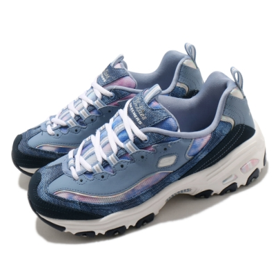 Skechers 休閒鞋 D Lites 老爹鞋 厚底 增高 女鞋 記憶型泡棉鞋墊 修飾腿型 穿搭推薦 藍 白 149251NVMT