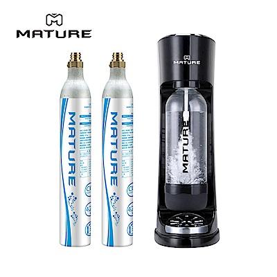 MATURE美萃 CRAZY氣泡水機-黑色 (425g氣瓶2隻)