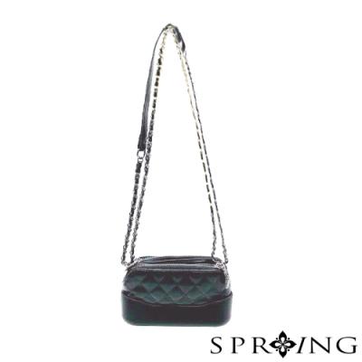 SPRING-閃亮菱格雙層側背包-經典黑
