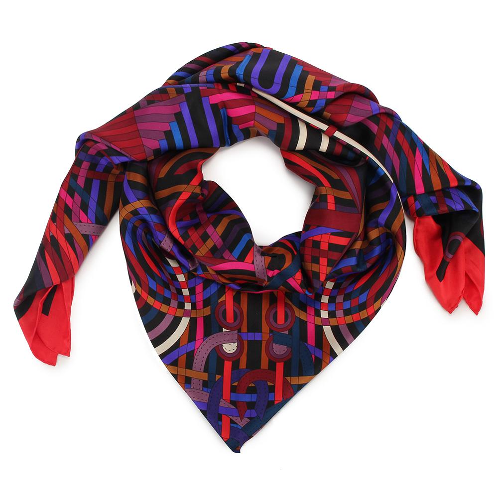 HERMES  La Fabrique Des 幾何圖騰真絲披肩方型大絲巾圍巾-多色