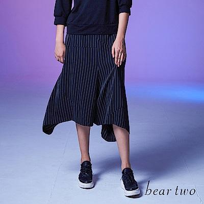 beartwo 不規則兩側長條紋七分寬褲(二色)