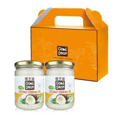 GoodSome 冷壓無椰味椰子油-可烹飪不搶味禮盒(500mlx2入)
