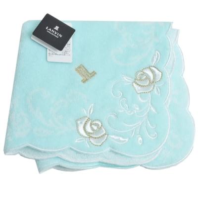 LANVIN collection LL圖騰品牌字母LOGO刺繡玫瑰圖騰小方巾(粉藍綠系)