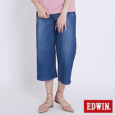 EDWIN 迦績褲JERSEY八分寬褲-女-石洗綠