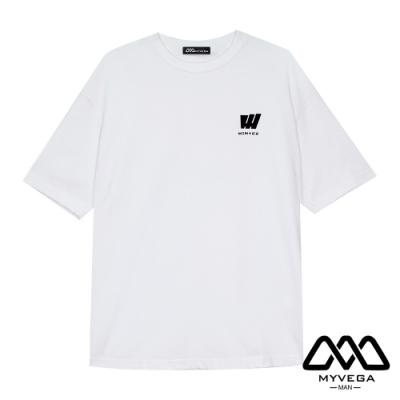 MYVEGA MAN日系夏季趣味印花寬鬆短袖T恤-白