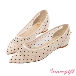 小美人魚點點網紗尖頭鞋