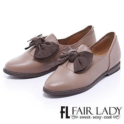 Fair Lady 有一種喜歡是早秋-中性美蝴蝶結樂福鞋 卡其