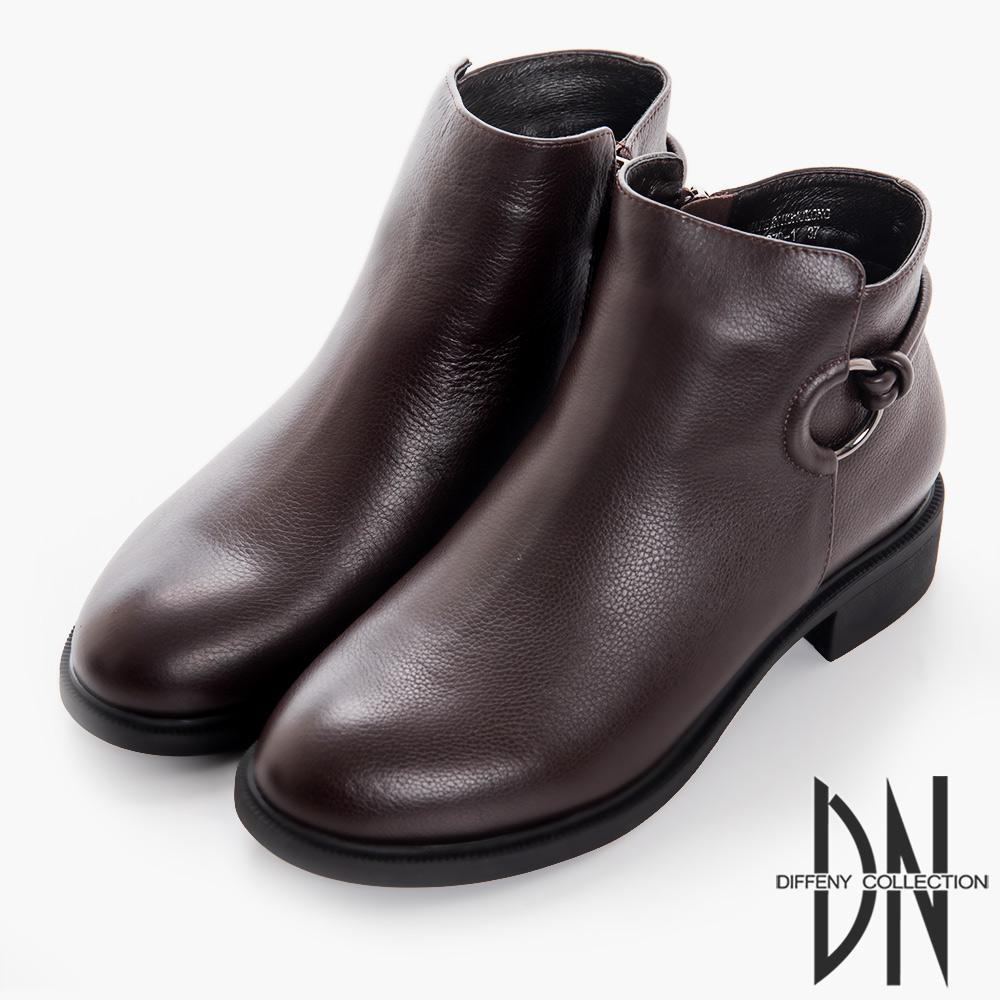 DN 漫步秋冬 百搭牛皮拉環造型短靴-深咖