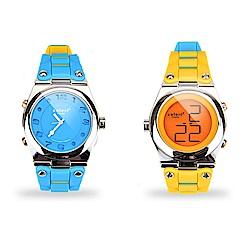 colore TWINS錶現心情錶出個性錶現時尚亮彩數位指針錶一錶二戴M01