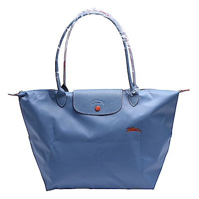 LONGCHAMP 經典Collection系列刺繡摺疊長提把水餃手提包(小-粉藍色)