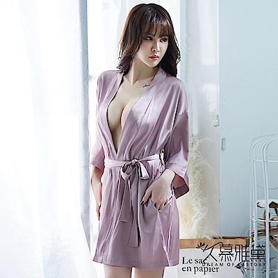 性感睡衣 優雅簡約絲滑睡衣外套。霧霾紫 久慕雅黛