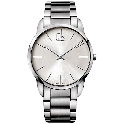Calvin Klein CK City 極簡時尚手錶-銀/43mm(K2G21126)