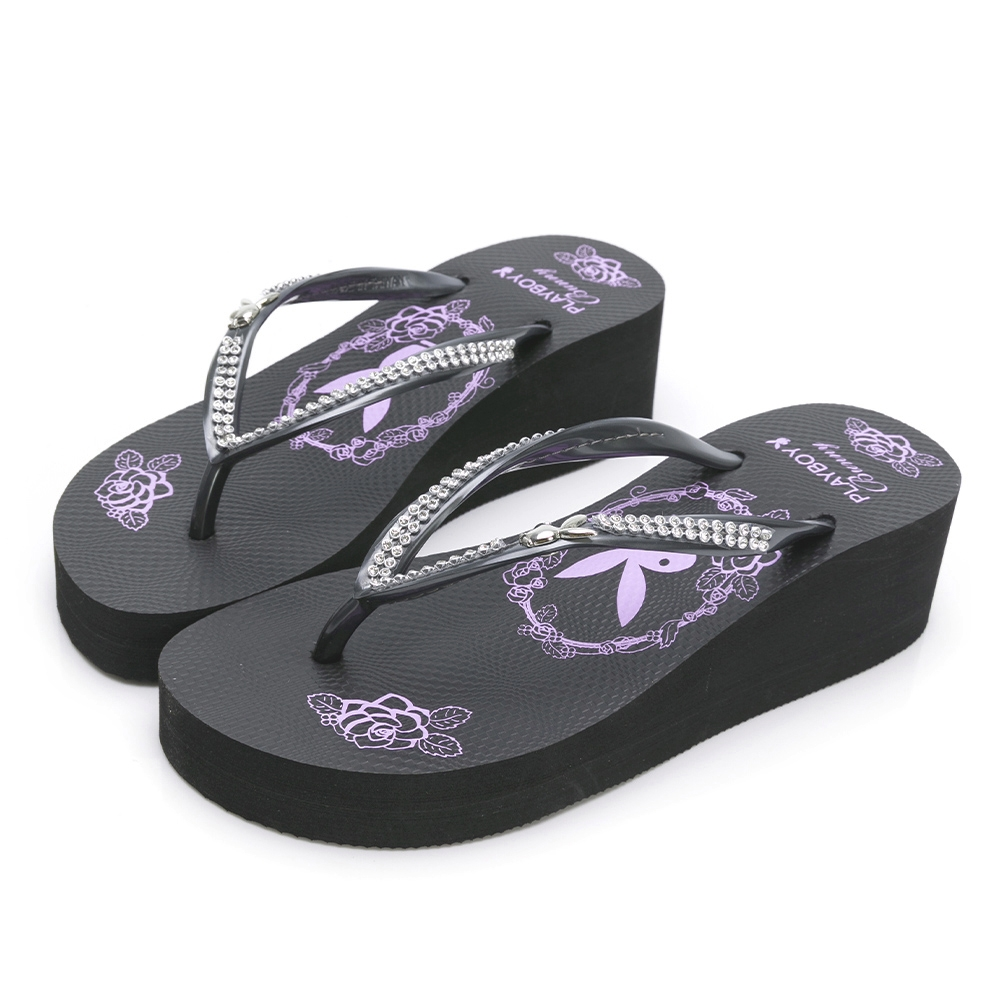 PLAYBOY 復古美型 夾腳厚底拖鞋-黑-YT707CC
