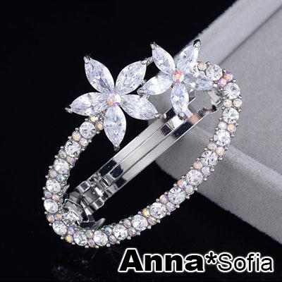 【2件7折】AnnaSofia 透曜晶鏤圈 純手工髮夾(雙花銀系)