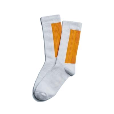 Nozzle Quiz 後研 Landing 中高筒休閒襪 橫紋羅織 男女款 陽黃 單雙入 單一尺寸 23cm-29cm AEVTSX01WY