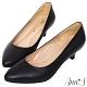 Ann'S知性簡約-全真羊皮氣墊尖頭低跟包鞋-黑 product thumbnail 1