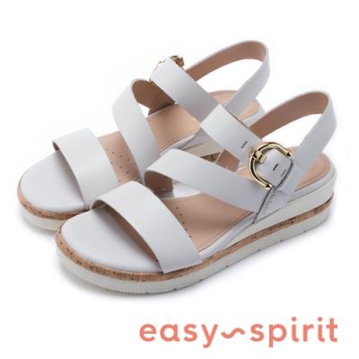 Easy Spirit evKASSIE 清新亮眼 金屬扣寬帶後繫帶厚底涼鞋-白色