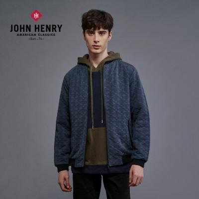 【JOHN HENRY】復古格紋壓花刺繡外套-藍