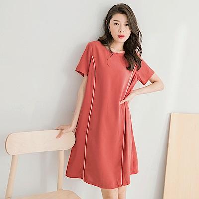 質感純色裝飾線條後拉鍊洋裝-OB嚴選