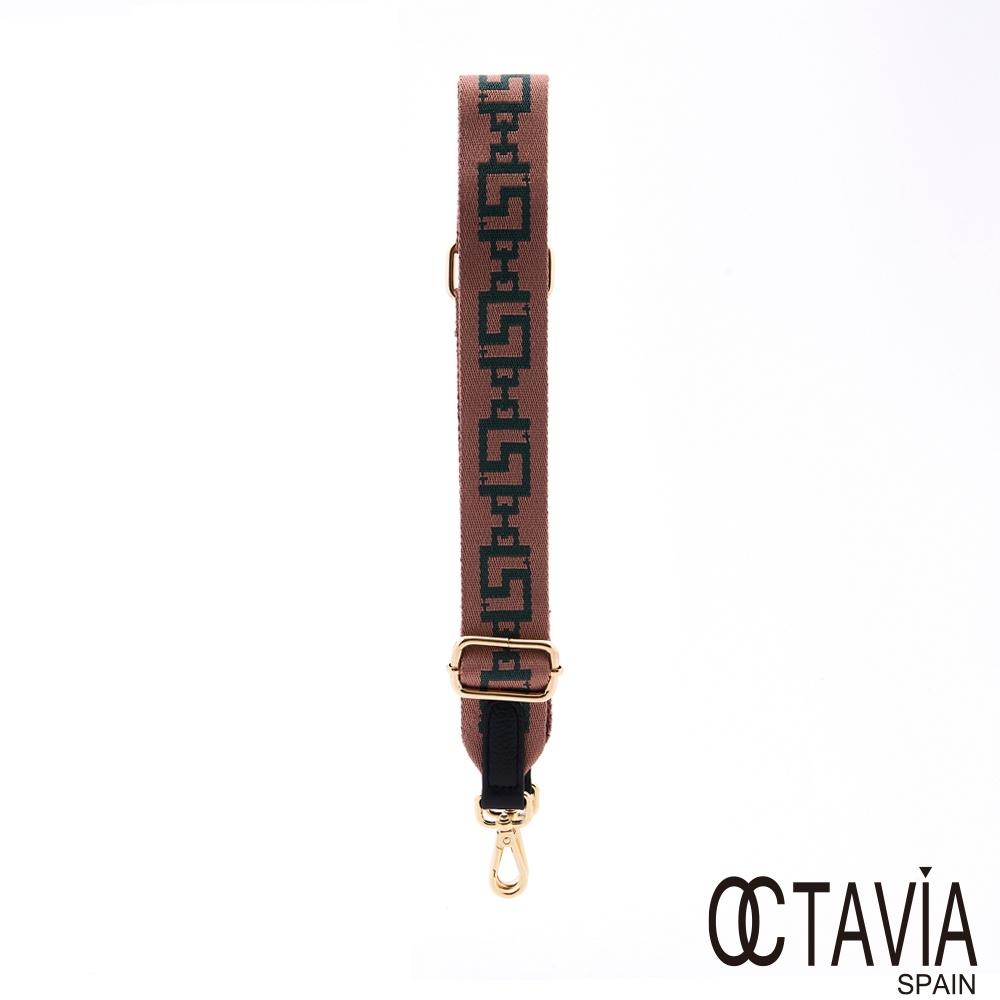OCTAVIA8 - 長背帶NEW LOOK 幾何風牛皮帶頭4.5公分窄版寬織帶肩背帶