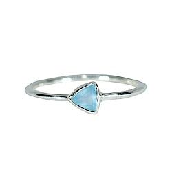 Pura Vida 美國手工 玉髓石三角造型銀色純銀戒指