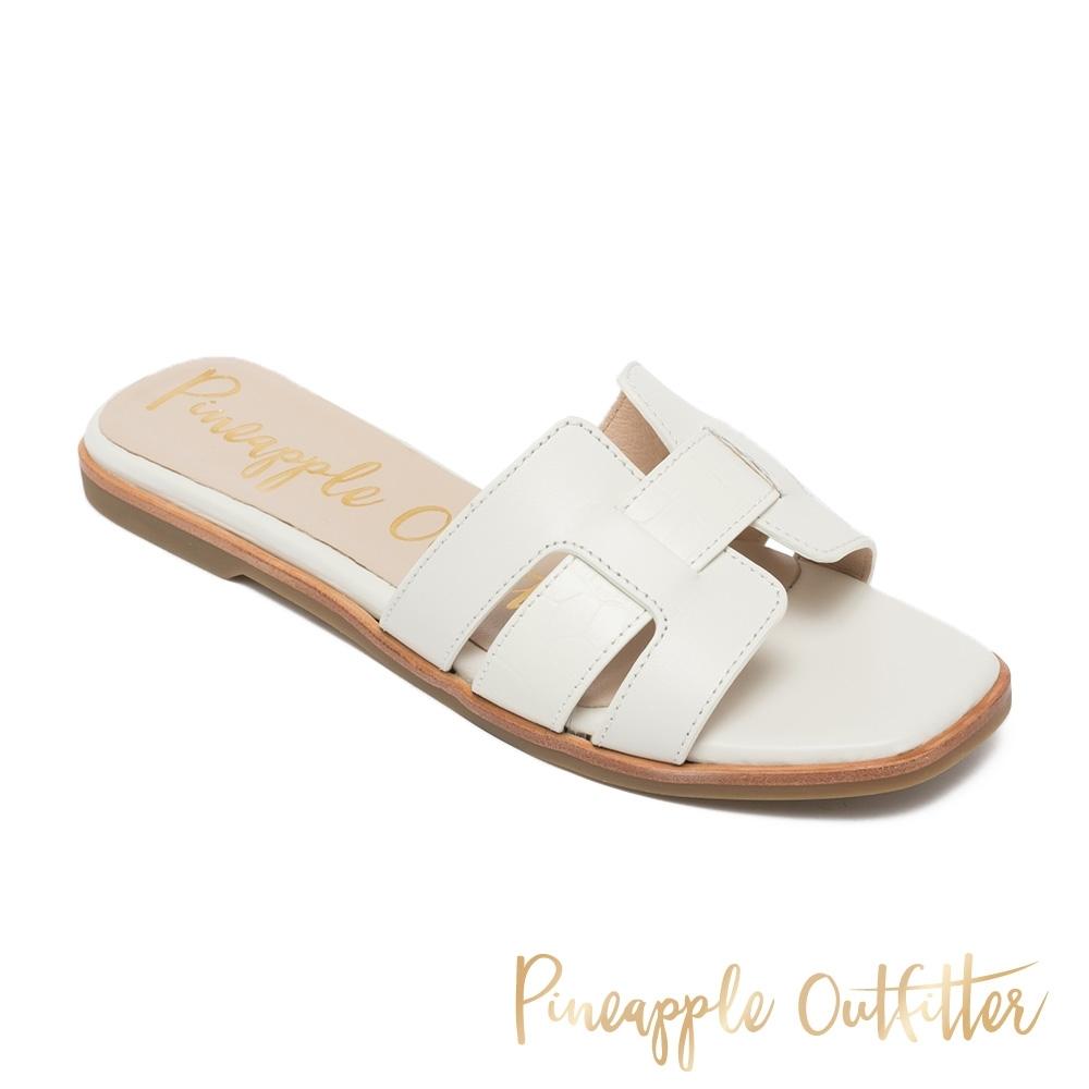Pineapple Outfitter-RIYA 真皮舒適平底拖鞋-米白色