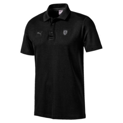 PUMA-男性法拉利經典系列短袖Polo衫-黑色-歐規
