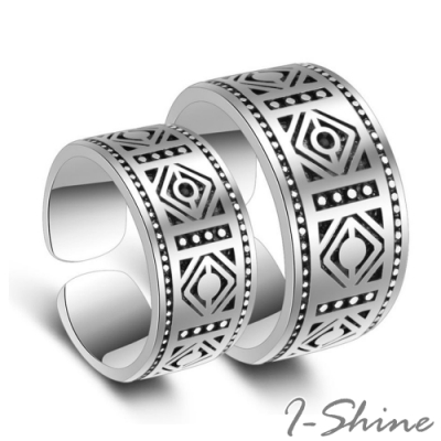 I-Shine-老九門-佛爺菱形復古圖騰情侶可調節開口鍍銀戒指