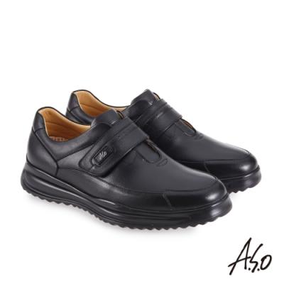 A.S.O 機能休閒 萬步健康鞋 魔鬼黏款商務休閒鞋-黑