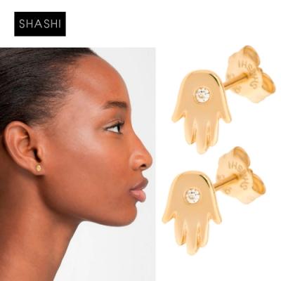 SHASHI 紐約品牌 Hamsa 鑲鑽幸運小手耳環 925純銀鑲18K金