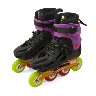 DLD多輪多 專業鋁合金底座平花直排輪 溜冰鞋 黑紫 GP-003 附贈太空背包