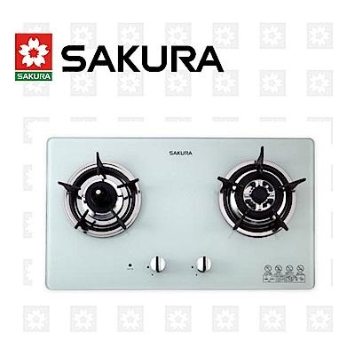 櫻花牌 SAKURA 二口防乾燒節能檯面爐 G-2820GW 限北北基配送安裝(除三峽林口鶯歌外)