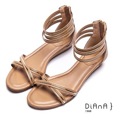 DIANA 流行時尚—交叉繞帶光澤金滾邊涼鞋-卡其