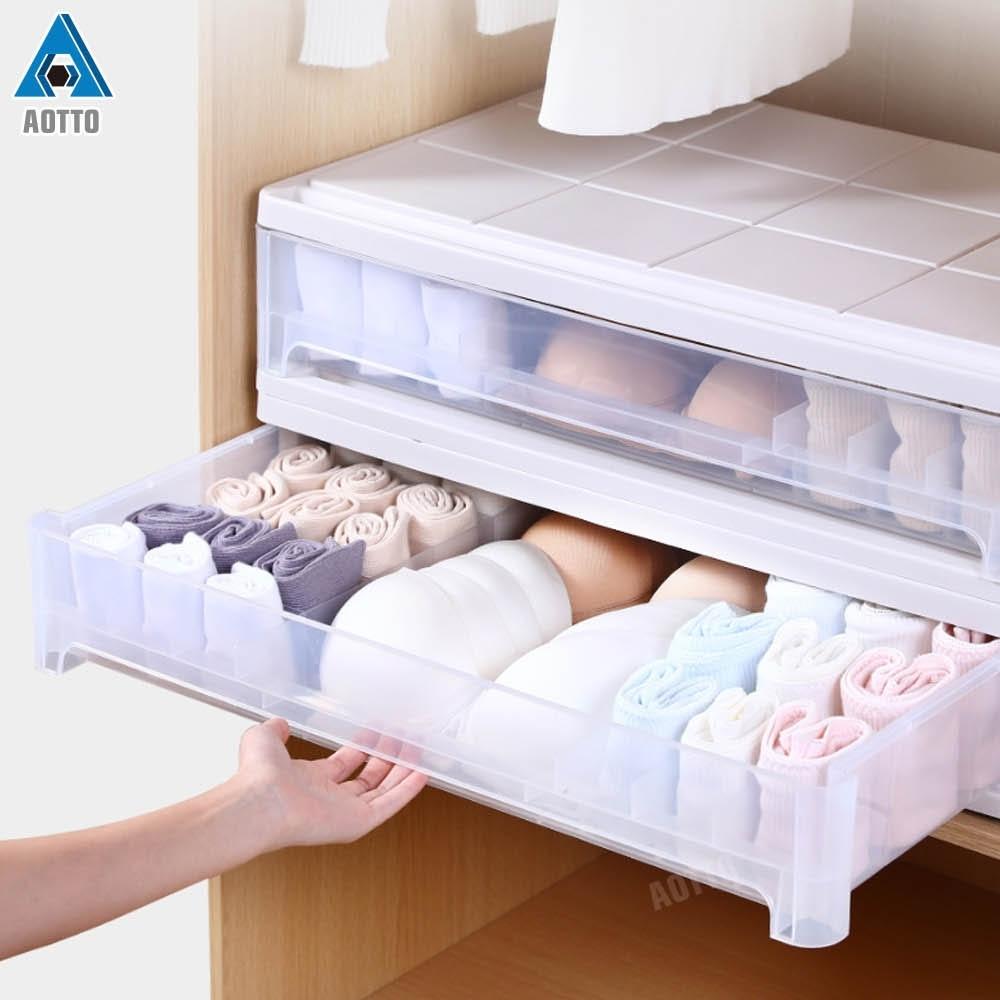 【AOTTO】私密小物內衣內褲分格整理收納箱 整理盒2入(收納盒 內衣盒 整理箱)
