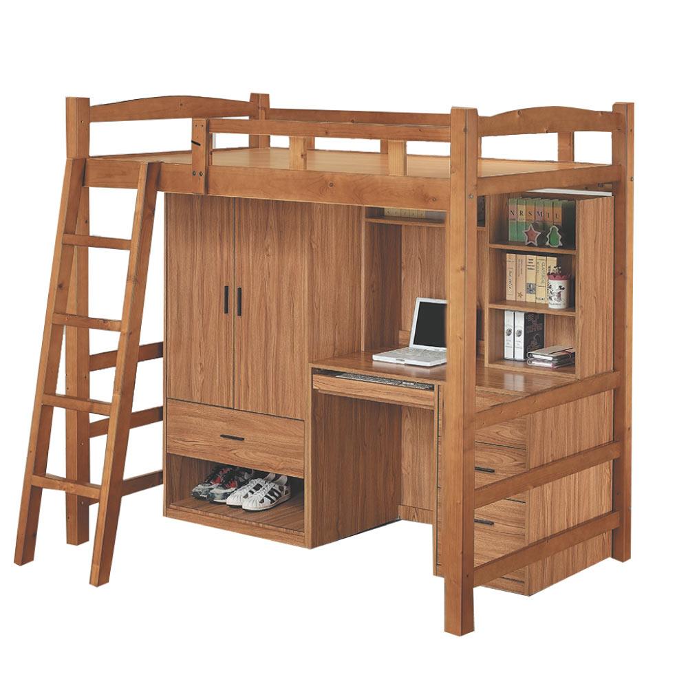 綠活居 亞戈3.5尺實木單人雙層床台(含衣櫃+書桌組)-110x197.9x190cm免組
