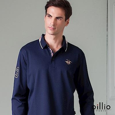 歐洲貴族 oillio 長袖POLO 休閒素面 賽馬刺繡 丈青色