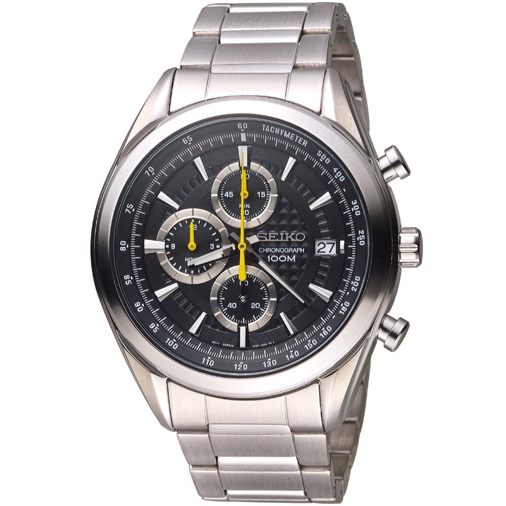 SEIKO 精工 競速三眼計時腕錶8T67-00A0Y#SSB175P1