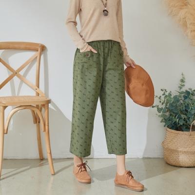 慢 生活 斑馬圖案紐釦口袋寬褲- 軍綠/深卡其