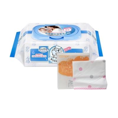 貝恩Baan NEW嬰兒保養柔濕巾80抽24入+拍嗝巾(粉)
