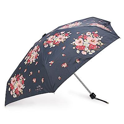 COACH 馬車LOGO繽紛花花圖案自動晴雨傘-深藍