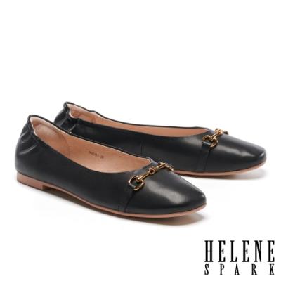 平底鞋 HELENE SPARK 舒適質感馬銜釦全真皮方頭平底鞋-黑