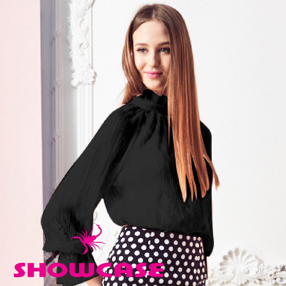 【SHOWCASE】名媛二件式細褶蕾絲透膚上衣(黑) @ Y!購物